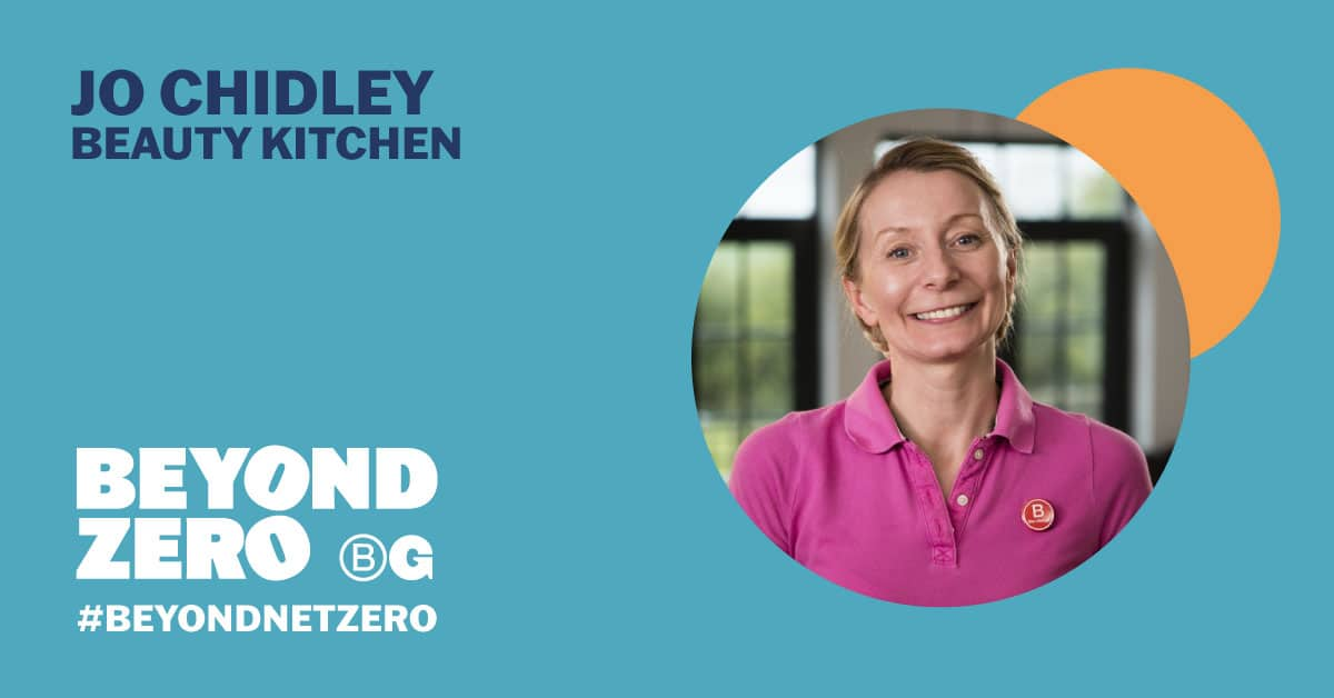 Image of Jo Chidley on right in circle. Turquoise background with dark blue lettering reading 'Jo Chidley, Beauty Kitchen', above the text, 'Beyond Zero'