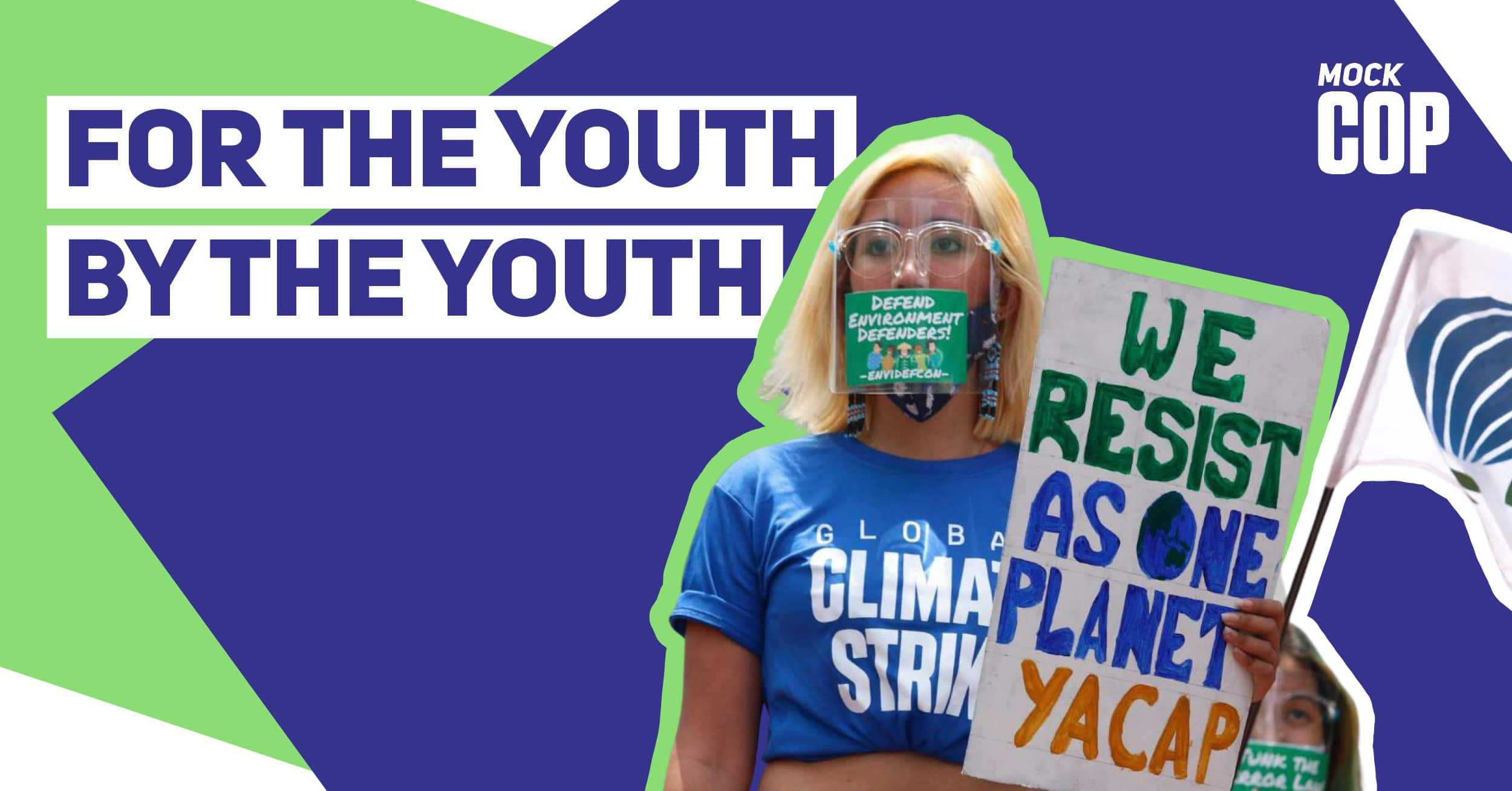 A banner reading 'FOR THE YOUTH BY THE YOUTH on a purple background, next to a cut-out photo of activist Mitzi Jonelle Tan at a climate strike.