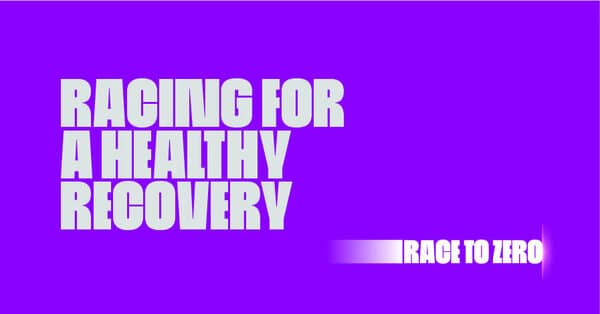 Silver text 'Racing for a healthy recovery' on a purple background