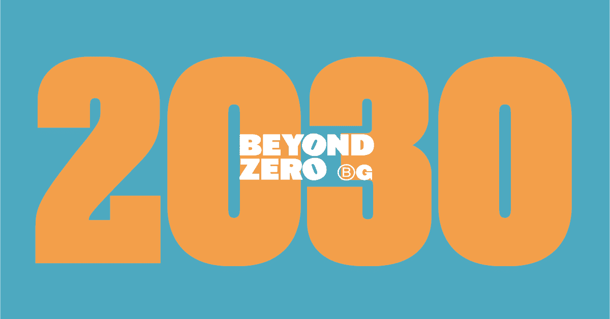 Beyond Zero in white text over 2030 in orange text. Turquoise background.